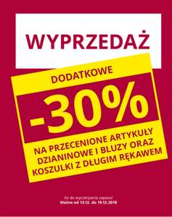 -30% na przecenione artykuły dzianinowe i bluzy do takko fashion