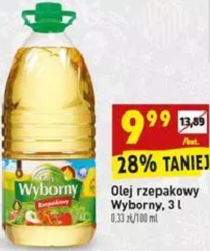 Olej rzepakowy 3L Wyborny (3,33zł/L) @ Biedronka