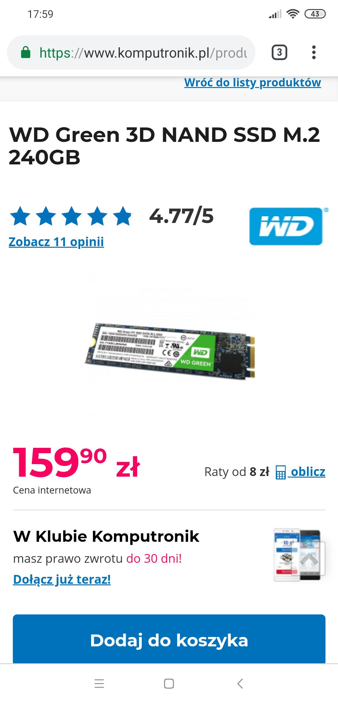 Dysk SSD WD Green 3D NAND SSD M.2 240GB