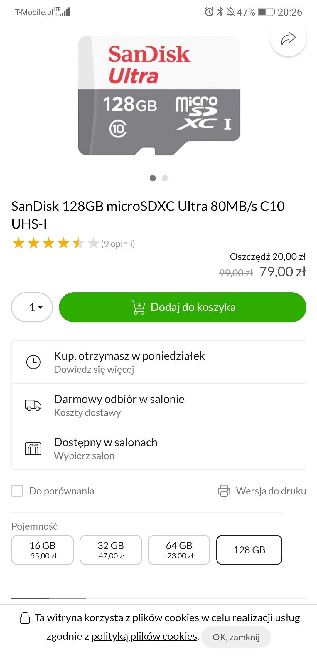 Karta SanDisk 128GB microSDXC Ultra 80MB/s C10 UHS-I