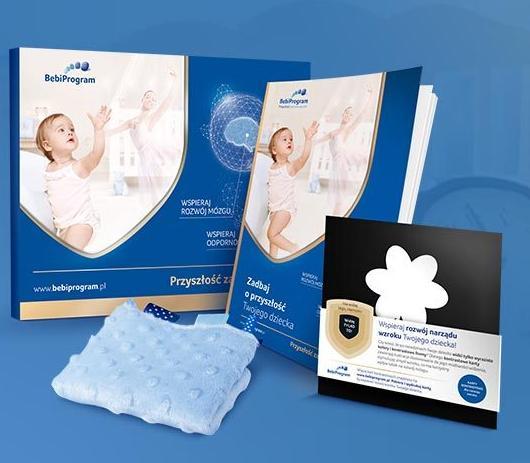 Darmowy zestaw Bebiklub praktyczną teczkę na wyniki badań z ciąży, przytulanką sensoryczną oraz poradnik a także Termofor z pestek wiśni