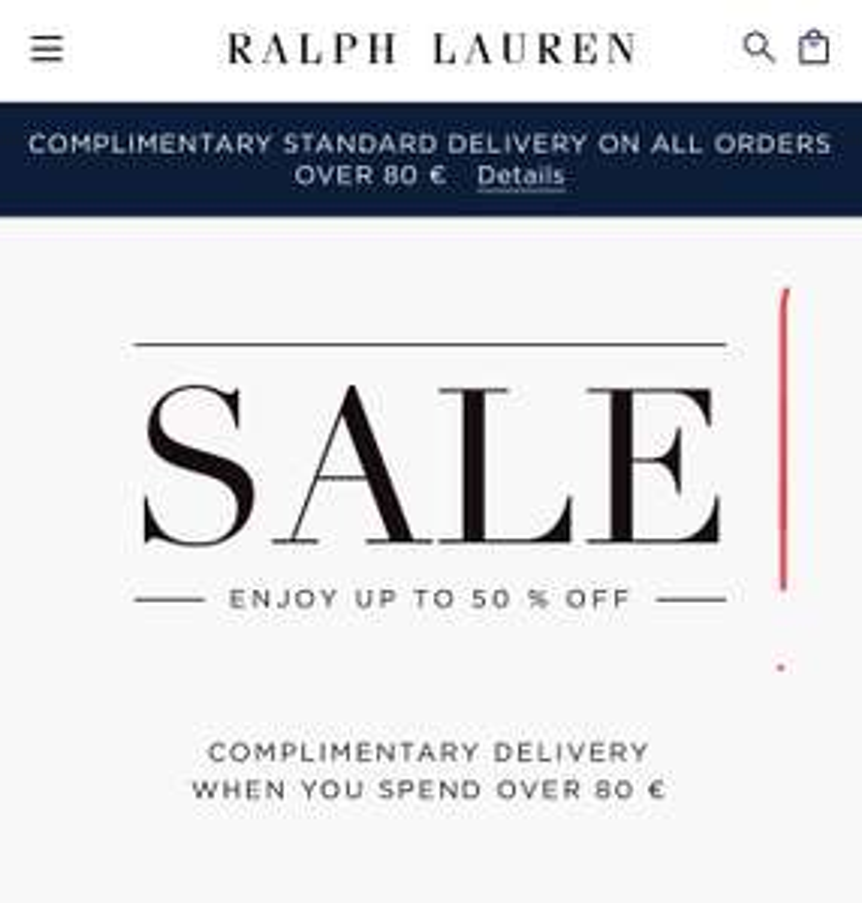 Wyprzedaż do -50% na stronie Ralph Lauren