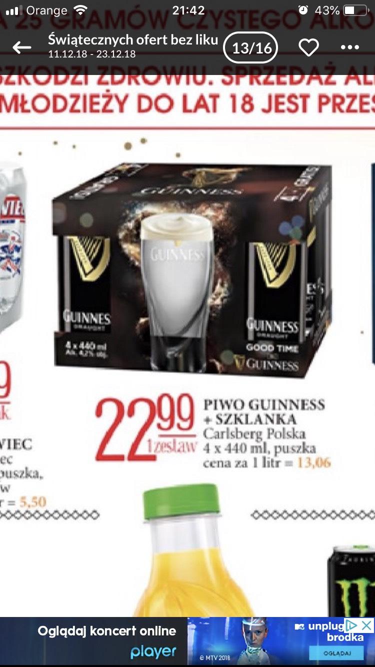 Guinness 4x440ml plus szklanka za 22,99 zł!!