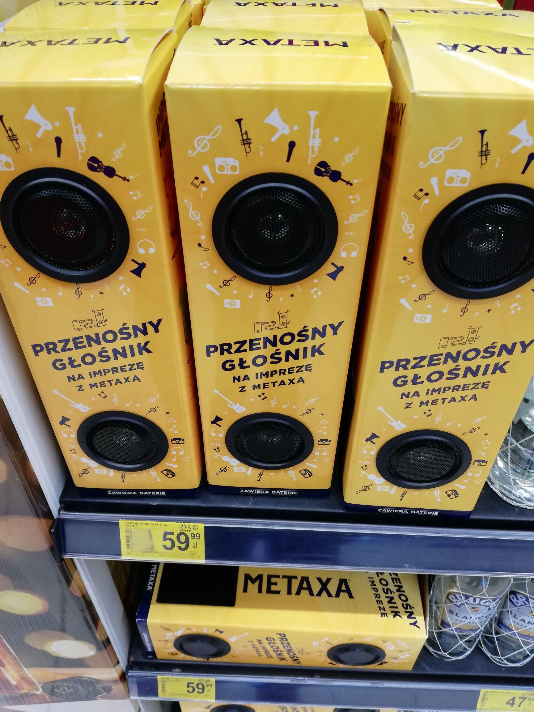 Metaxa 5* 0.7l z głośnikami imprezowymi w Carrefour w CH Targówek