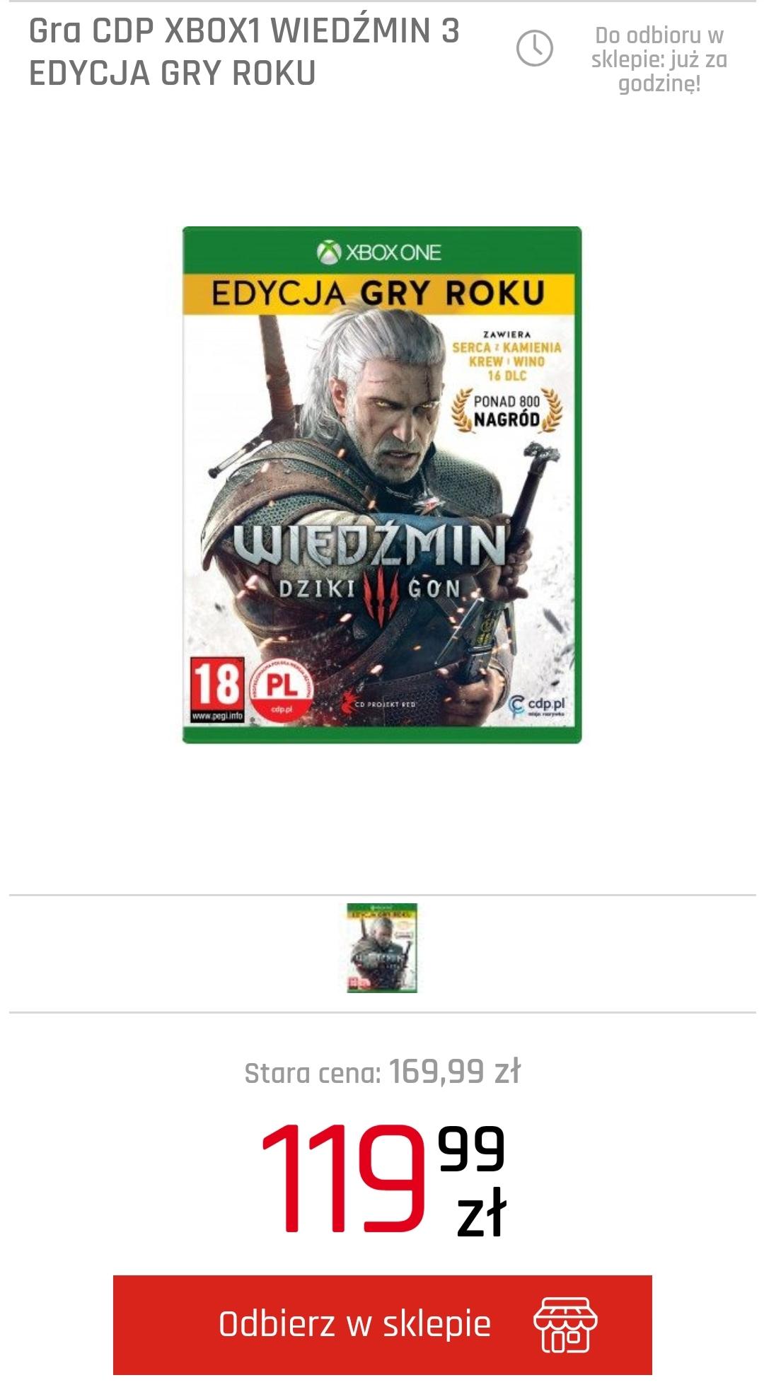 Wiedźmin 3 Edycja GOTY na XBOX ONE