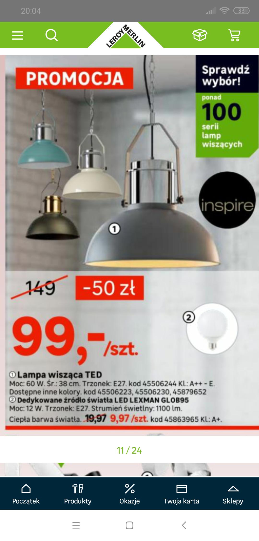 Lampa TED Inspire  Leroy Merlin różne kolory