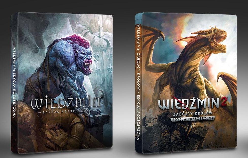 Wiedźmin i Wiedźmin 2: Zabójcy Królów w wersjach rozszerzonych + 2x Steelbook na PC