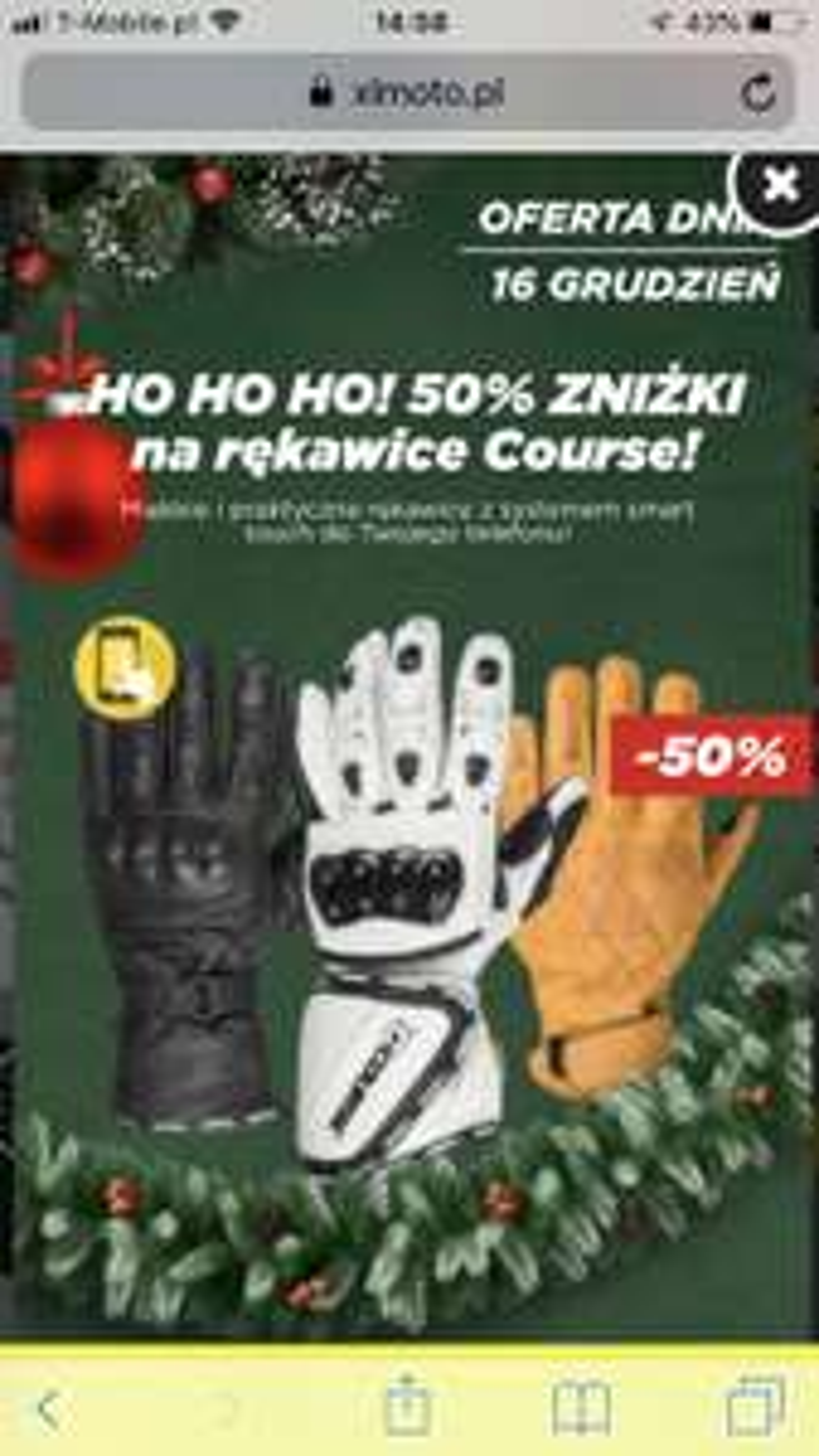 Sklep XLMOTO: -50 % na rękawiczki Course (motocyklowe)