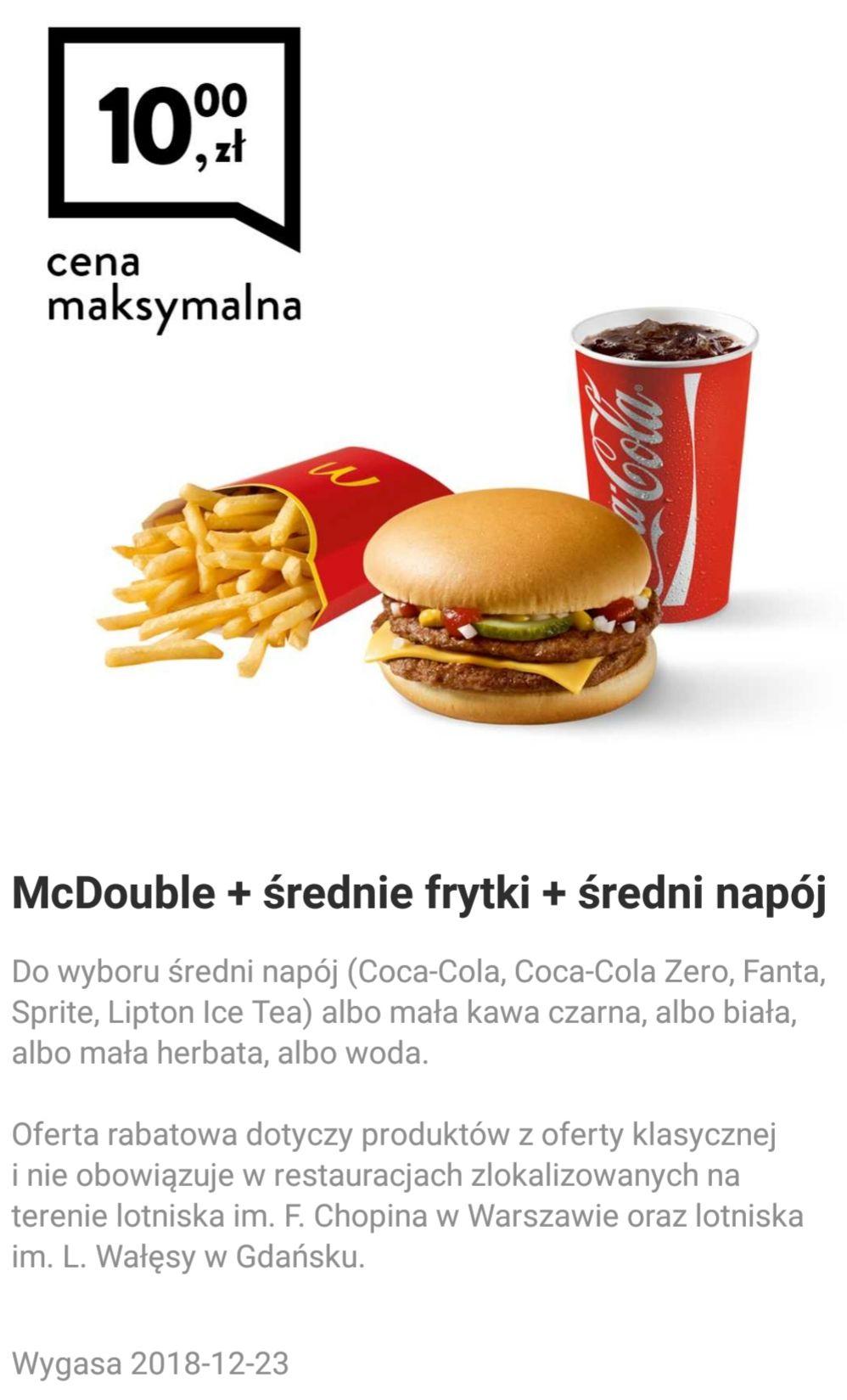 W aplikacji McDonald Mcdouble z frytkami i napojem za 10 zł