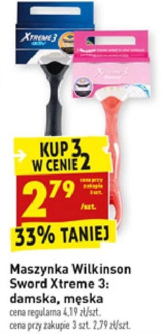 3 w cene 2: maszynka Wilkinson Sword Xtreme 3 [męska i damska] (2,79zł za 1) @ Biedronka