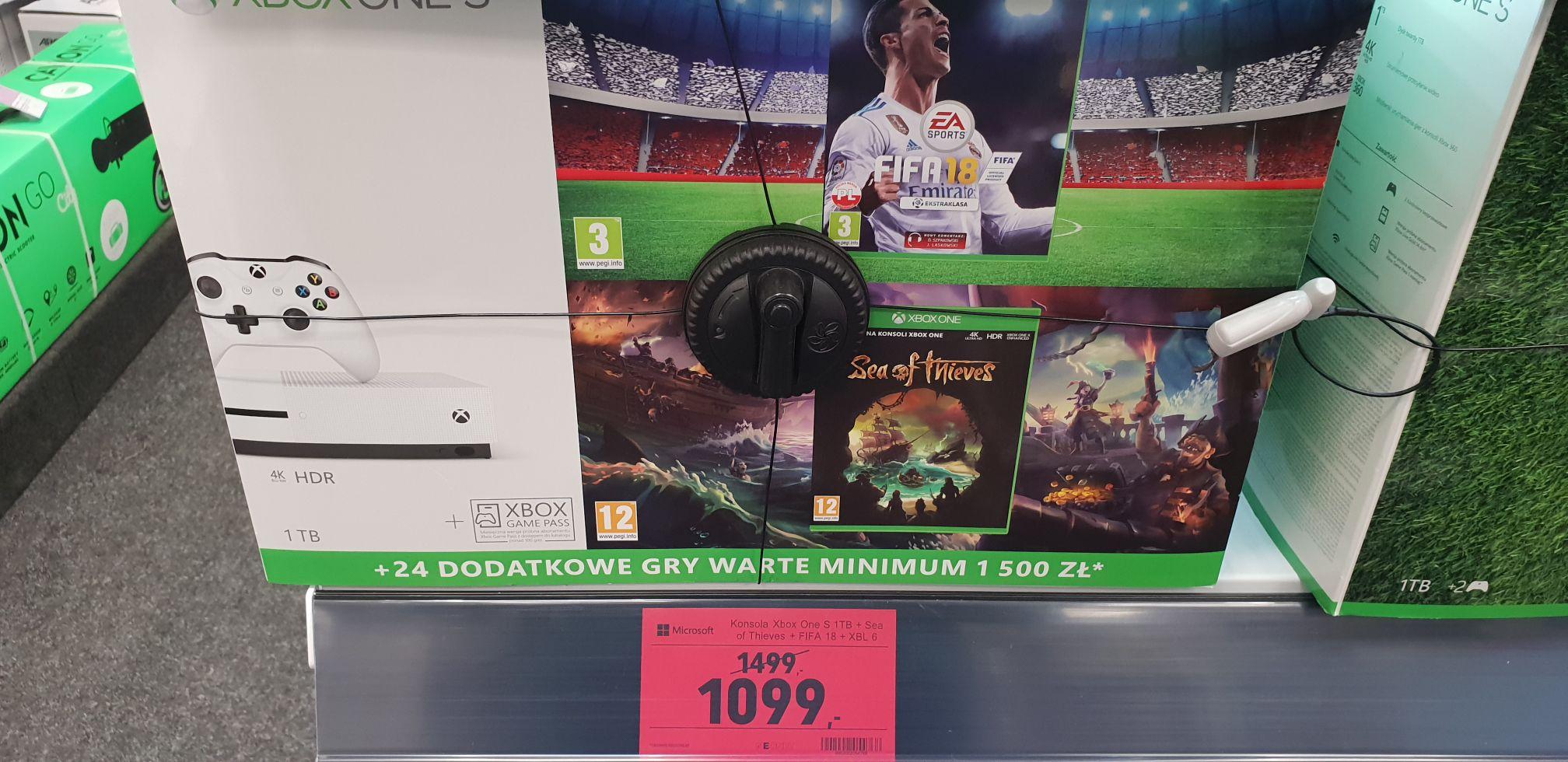 Konsola Xbox One S 1TB + Fifa 18 + Sea of Thieves + XBL 6 mc - Neonet Bytom