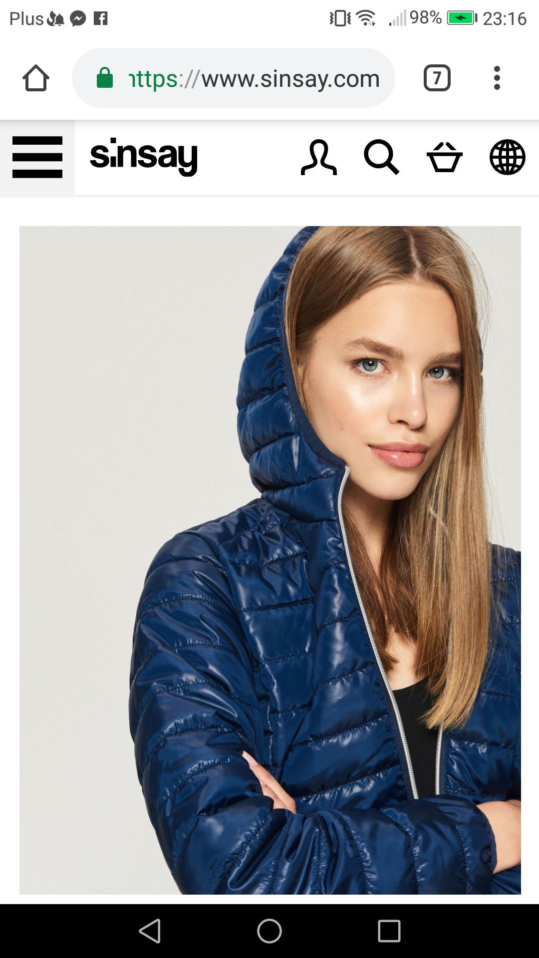 Sinsay damska pikowana kurtka