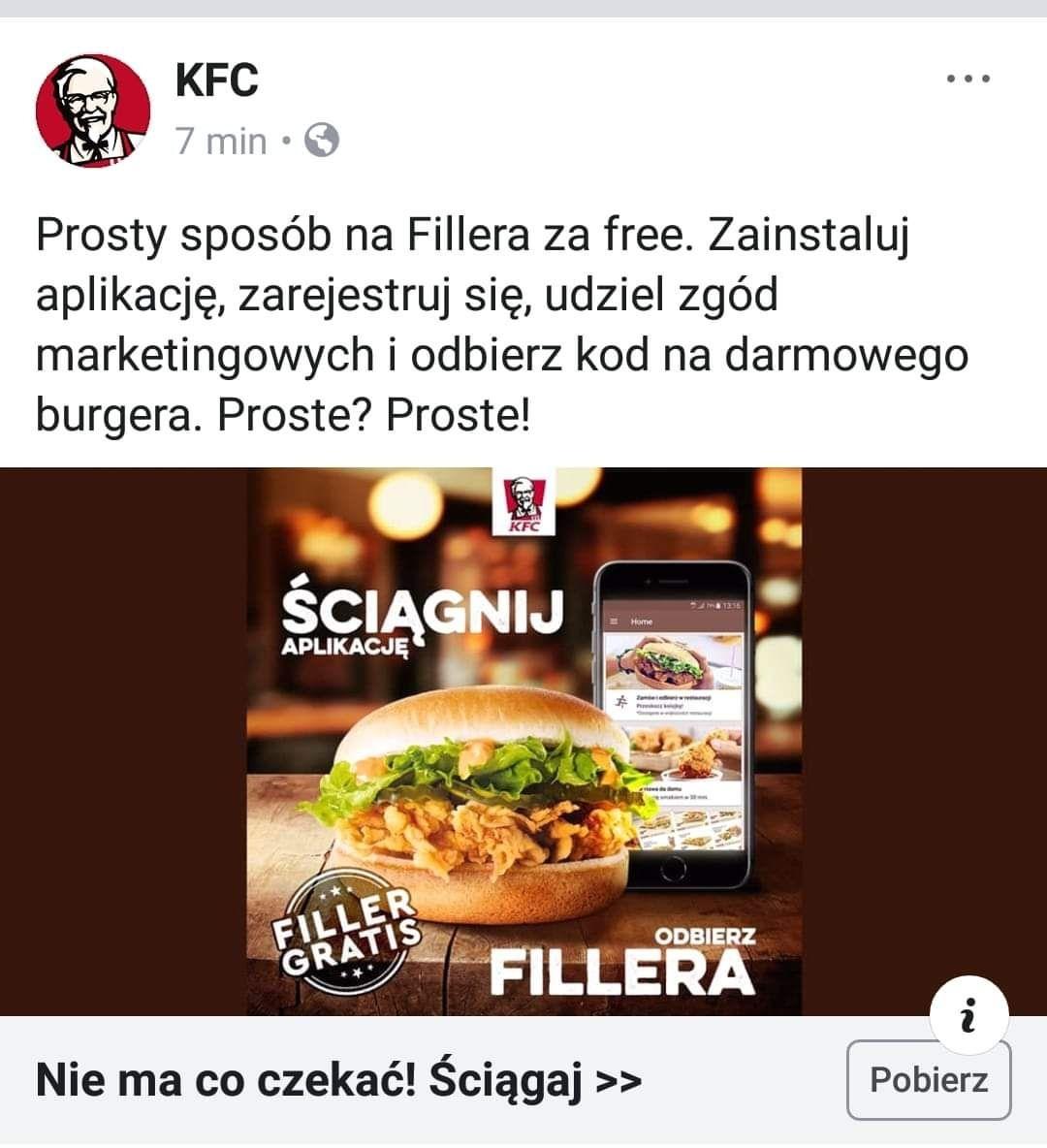 Darmowy filler za pobranie aplikacji KFC