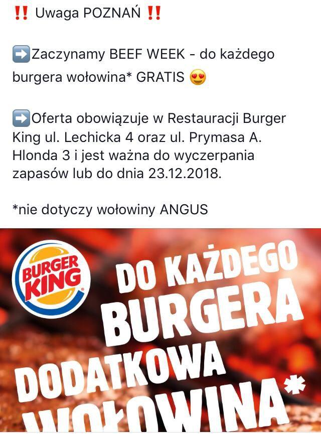 BURGER KINGi w POZNANIU i LUBLINIE dodatkowa wołowina gratis!
