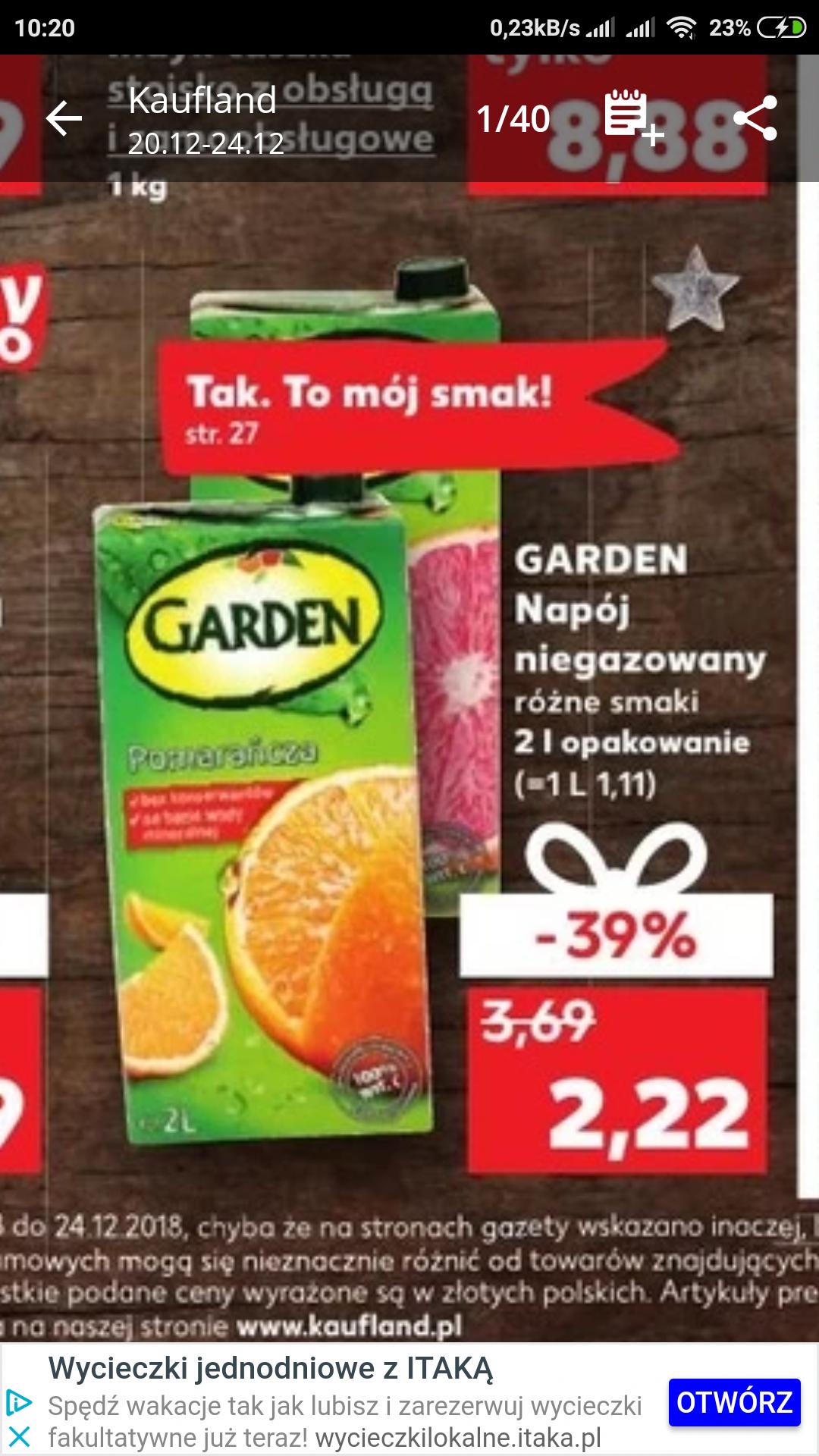 napoje Garden w Kaufland