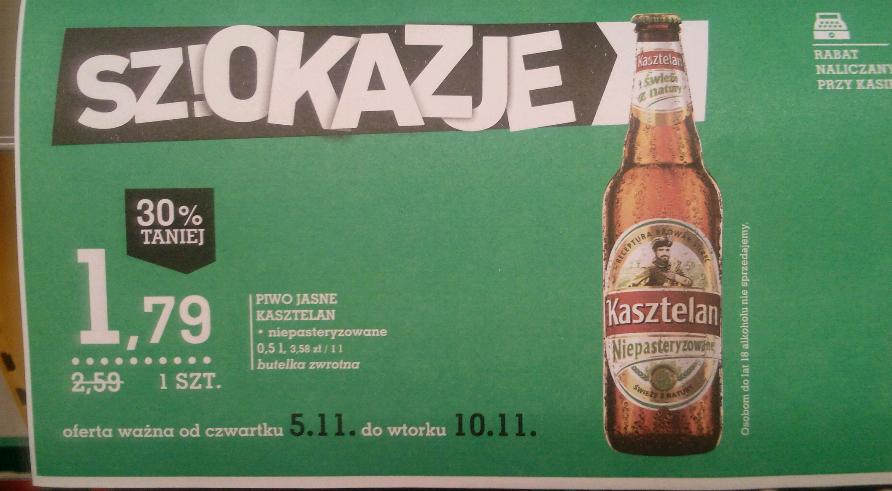 Kasztelan Niepasteryzowany butelka 0,5L @ Intermarche
