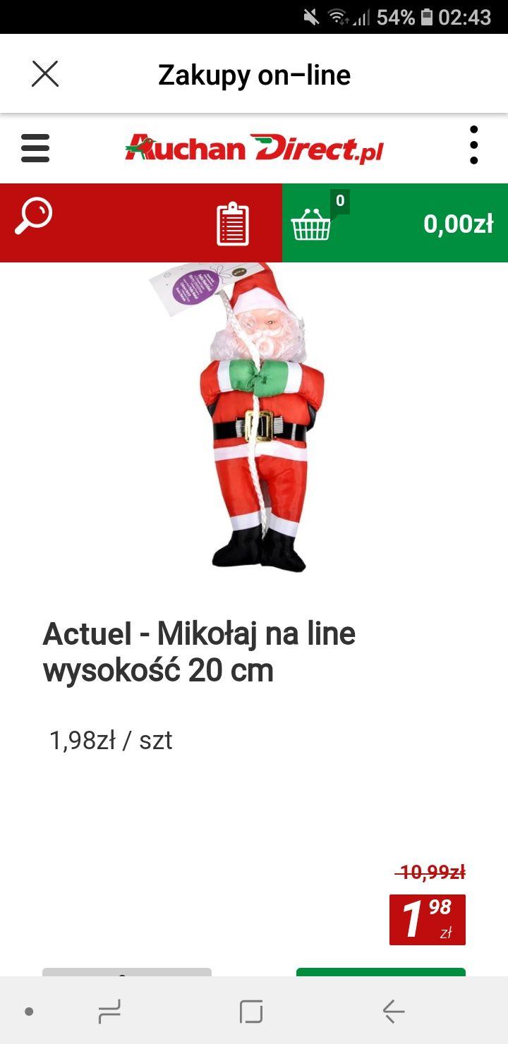 Mikołaj na linie 82 % rabatu dekoracja świąteczna promocja okazja w Auchan Direct
