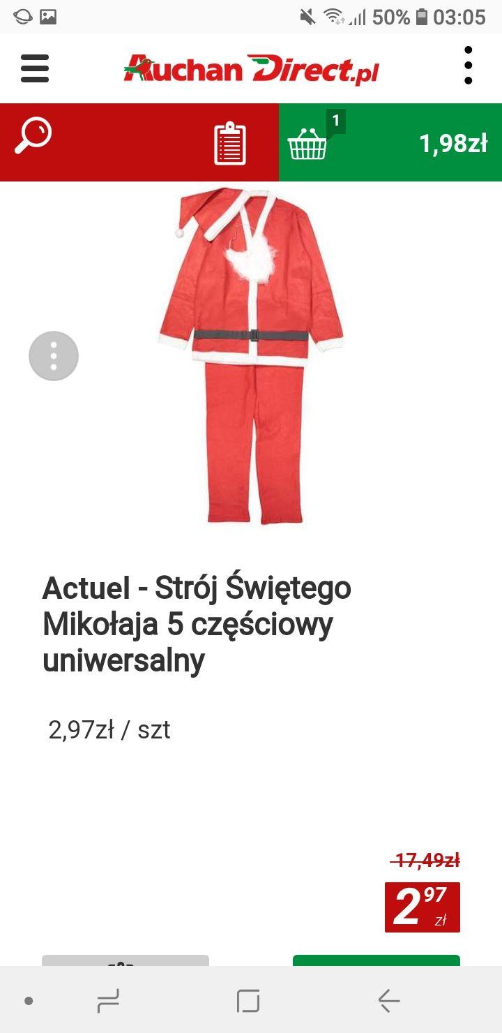 Strój świętego Mikołaja okazja 83 % taniej w Auchan Direct