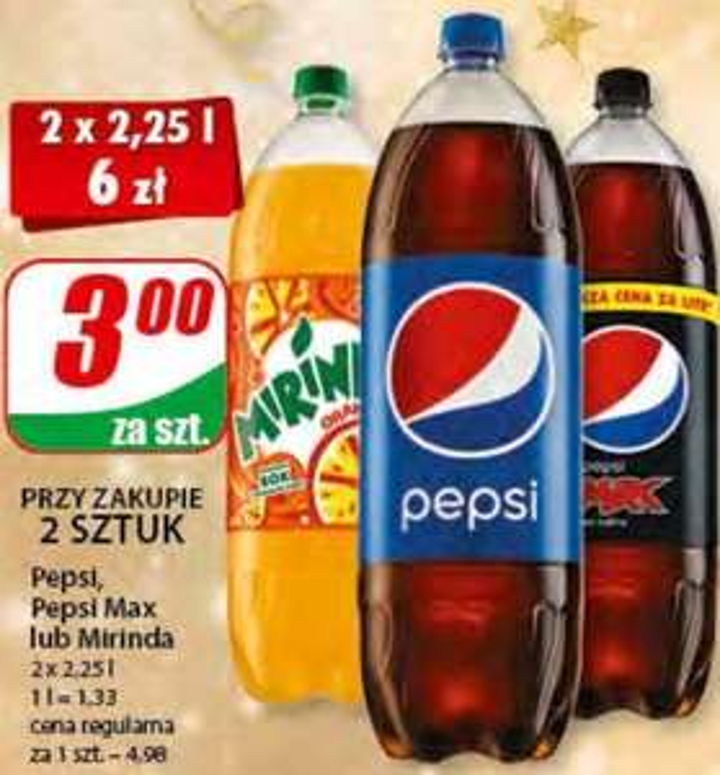 2x 2,25L Pepsi, Pepsi Max lub Mirinda (1,33zł/L) @ Dino
