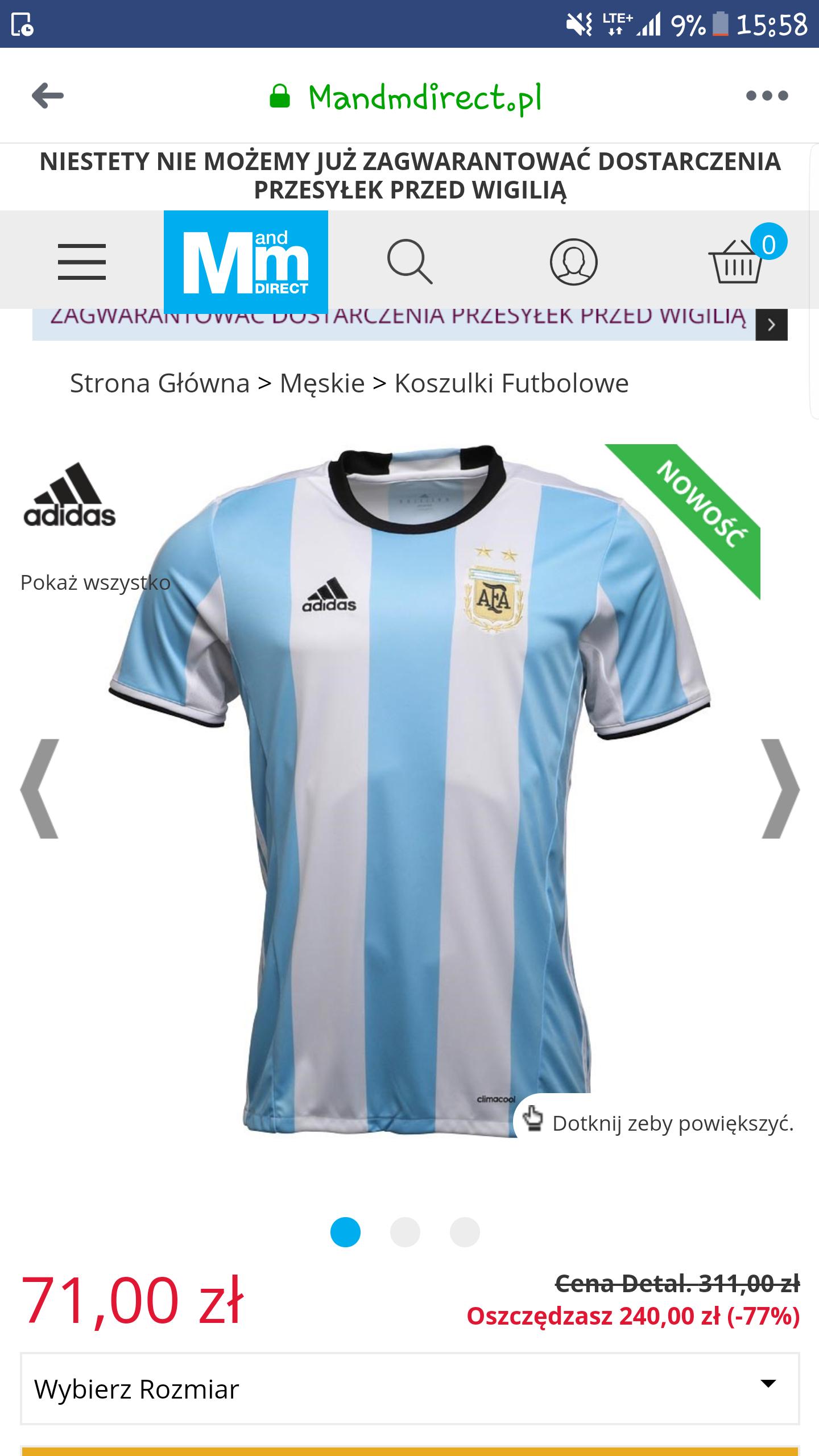 Koszulka piłkarska Argentyna/Kolumbia  -70%    dostawa 4-6dni.  nie ma gwarancji dostania przed wigilią