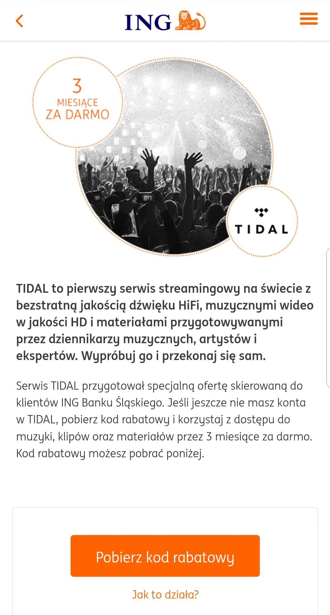 TIDAL Premium - 3 miesiące za darmo dla klientów ING Banku Śląskiego