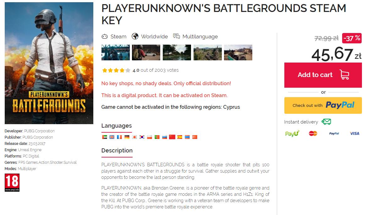 PLAYERUNKNOWN'S BATTLEGROUNDS Steam Key
