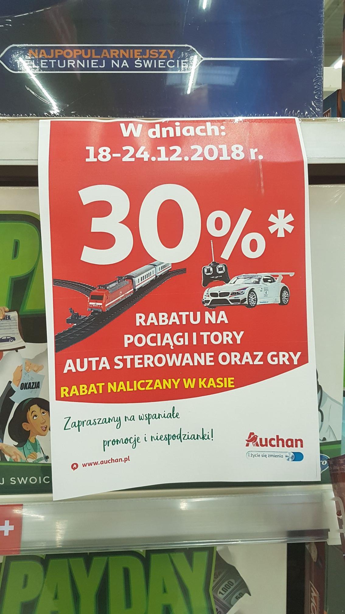 Zniżki na gry planszowe, pociągi auta zdalnie sterowane Auchan Nowy Sacz