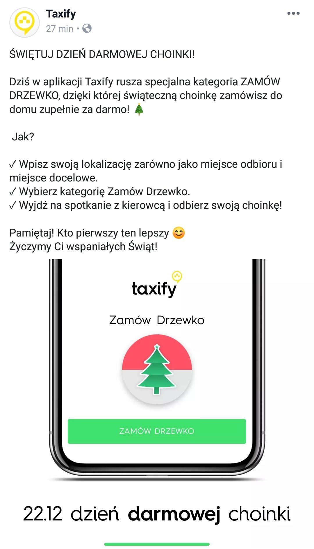 DARMOWA CHOINKA POD DRZWI OD TAXIFY (Warszawa)