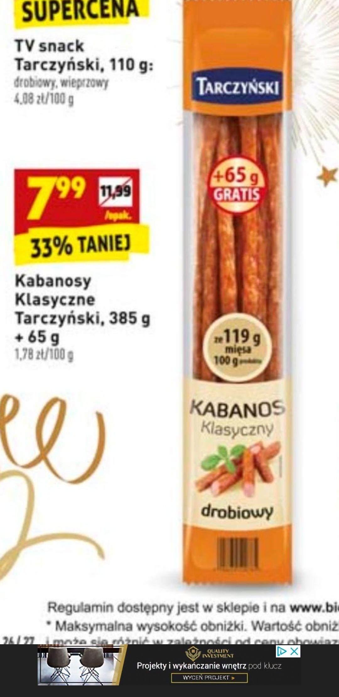 Kabanosy TARCZYŃSKI 450g (drobiowe, wieprzowe) - Biedronka