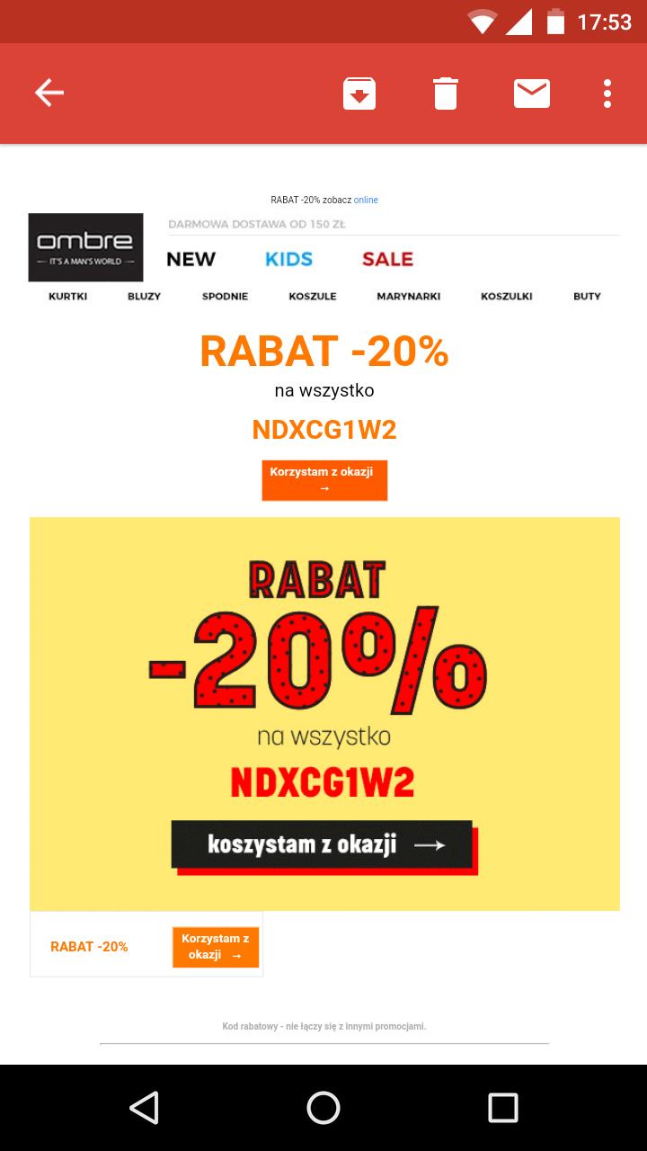 Zniżka -20% na wszystko OMBRE.PL