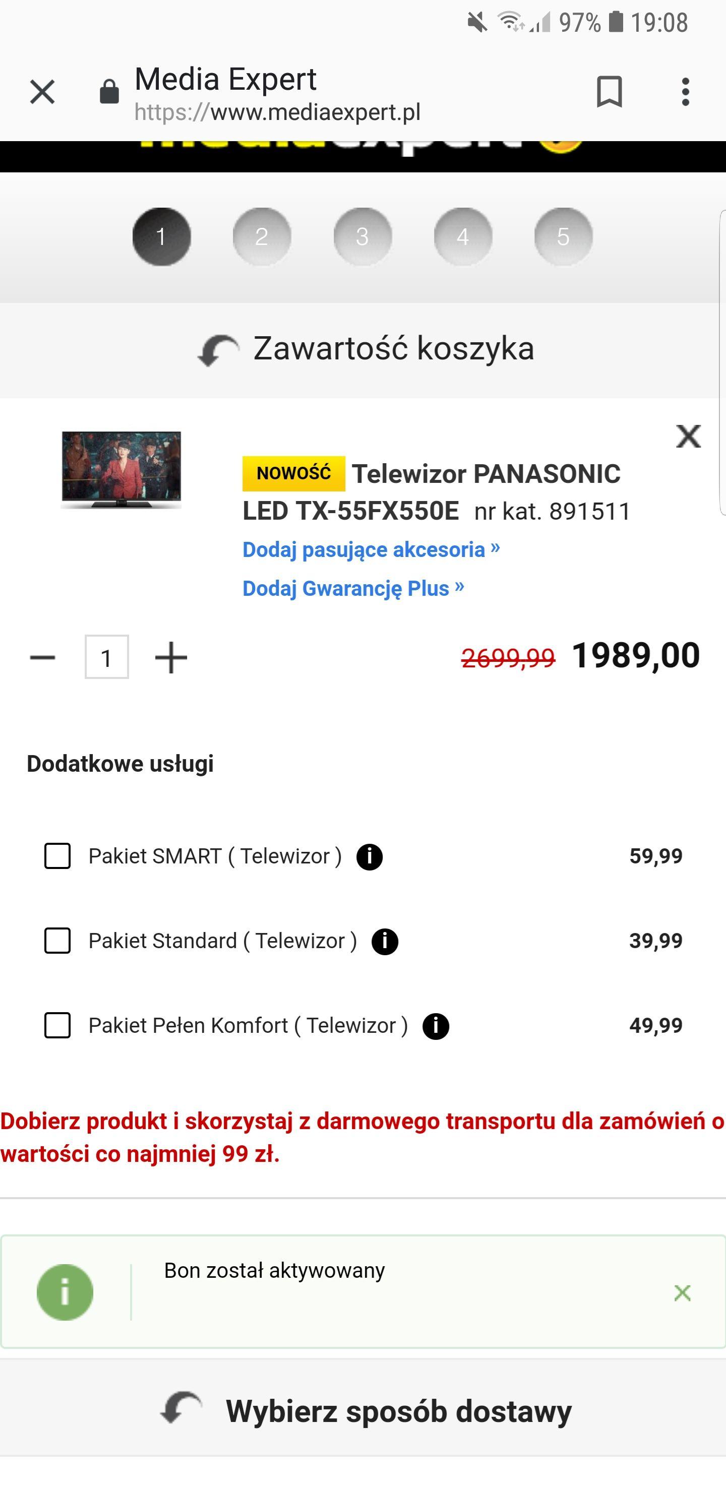 Telewizor Panasonic- wietrzenie magazynów Media Expert