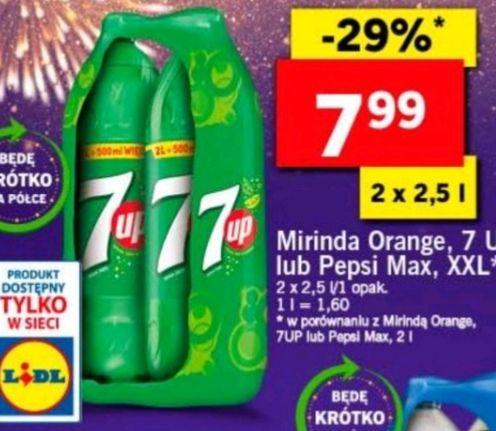 Lidl 2 x 2,5 L  Mirinda orange, 7 UP, Pepsi Max