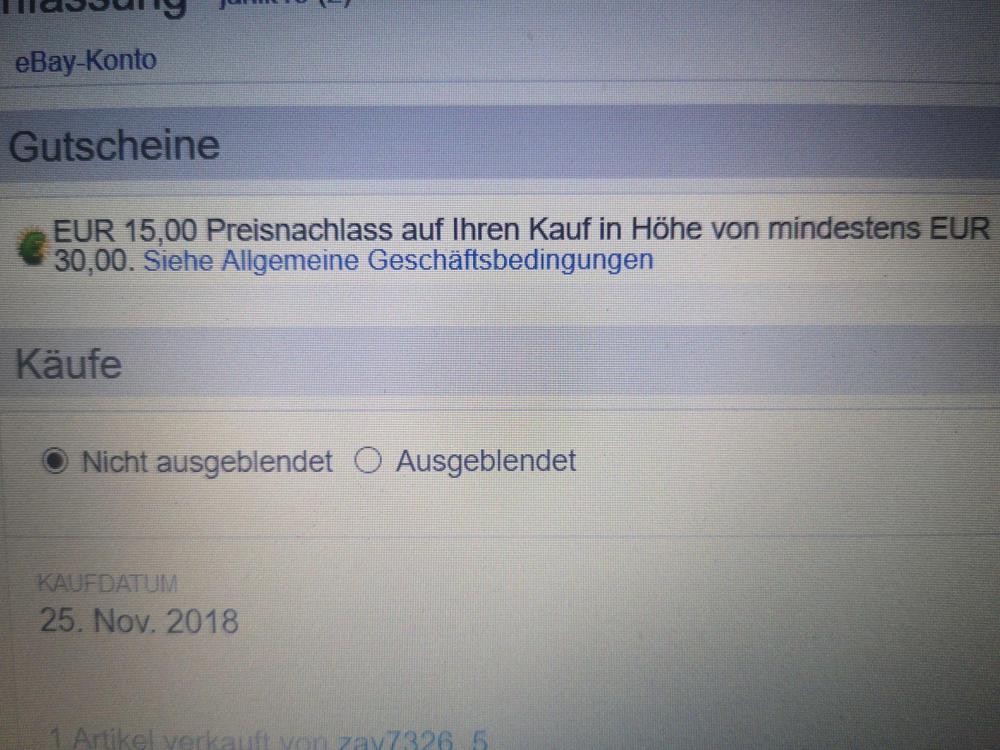 Ebay rabat 15 euro przy zakupach za 30 euro