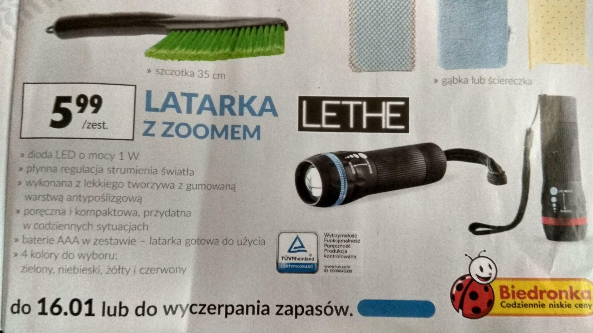 Latarka LED z zoomem (baterie w komplecie)  Biedronka 5,99pln