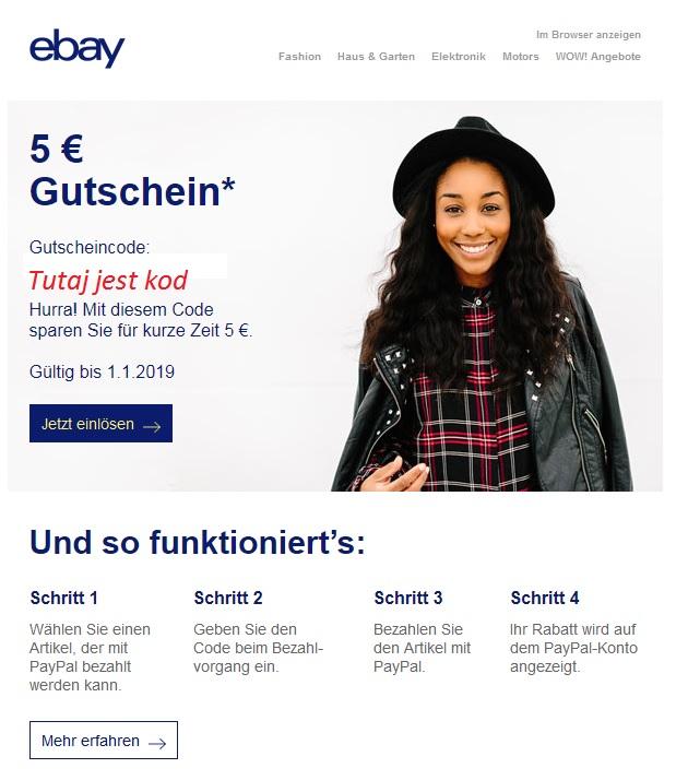 eBay.de rozdaje 5 € na darmowe zakupy bez MWZ