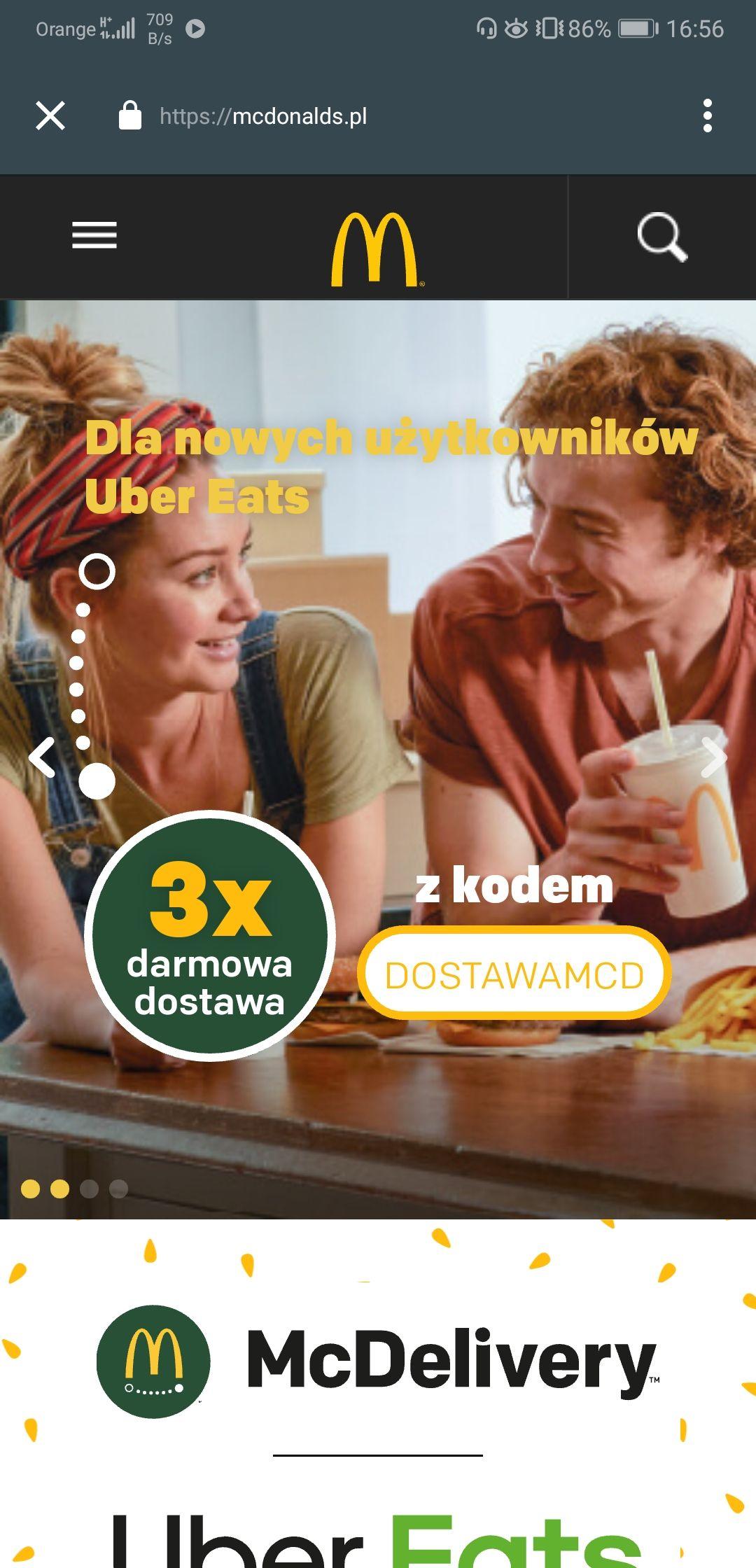 McDonald's - 3x darmowa dostawa UberEATS (+ 2x Coca-Cola cynamonowa przy zamówieniu powyżej 35 zł)