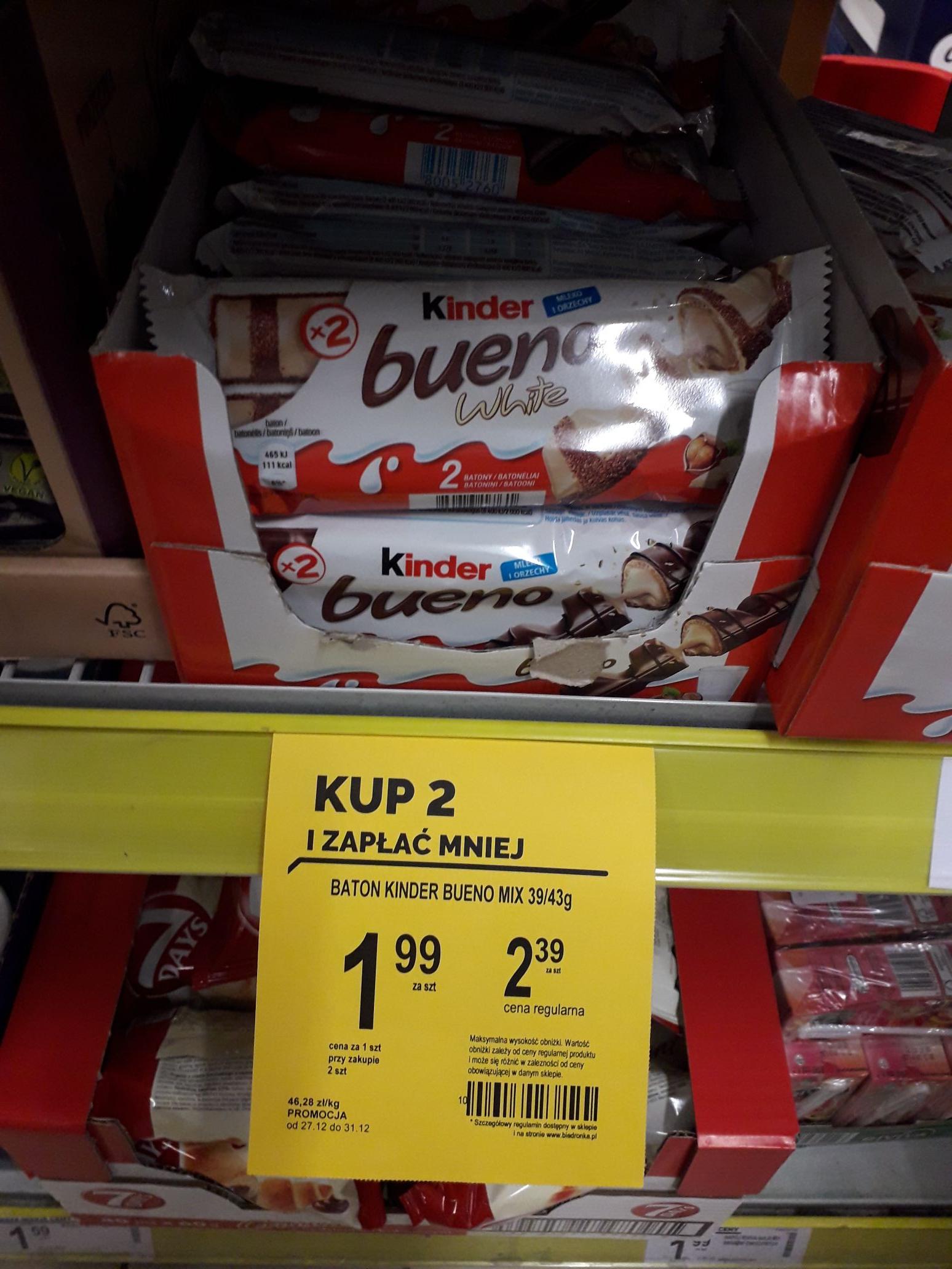 Kinder Bueno taniej przy zakupie 2 Biedronka