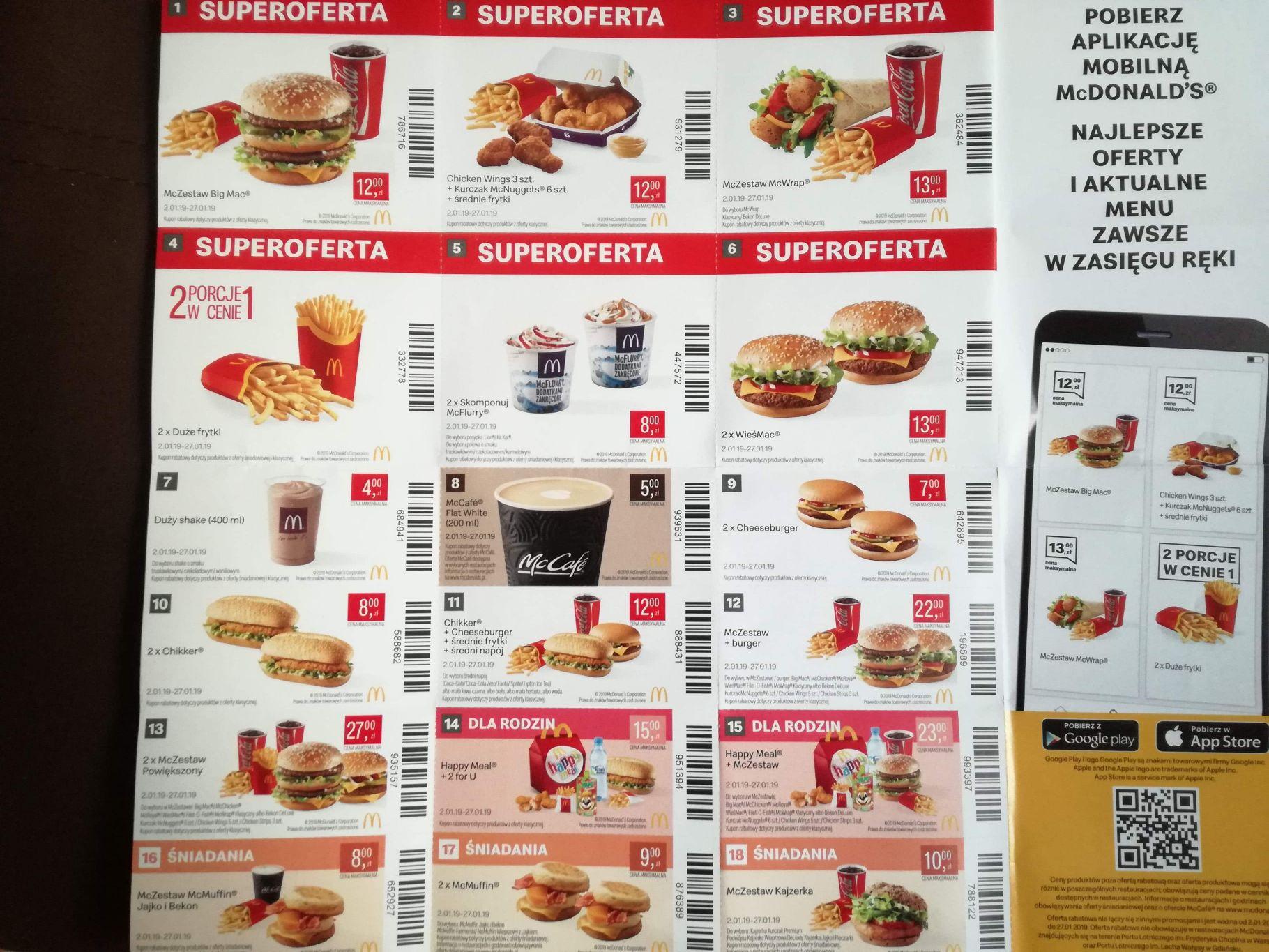 Kupony McDonald's od 2.01