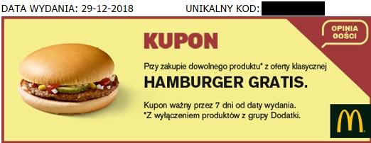 Darmowy hamburger lub lody z polewą w McDonald's za wypełnienie ankiety po zakupie dowolnego produktu w McD