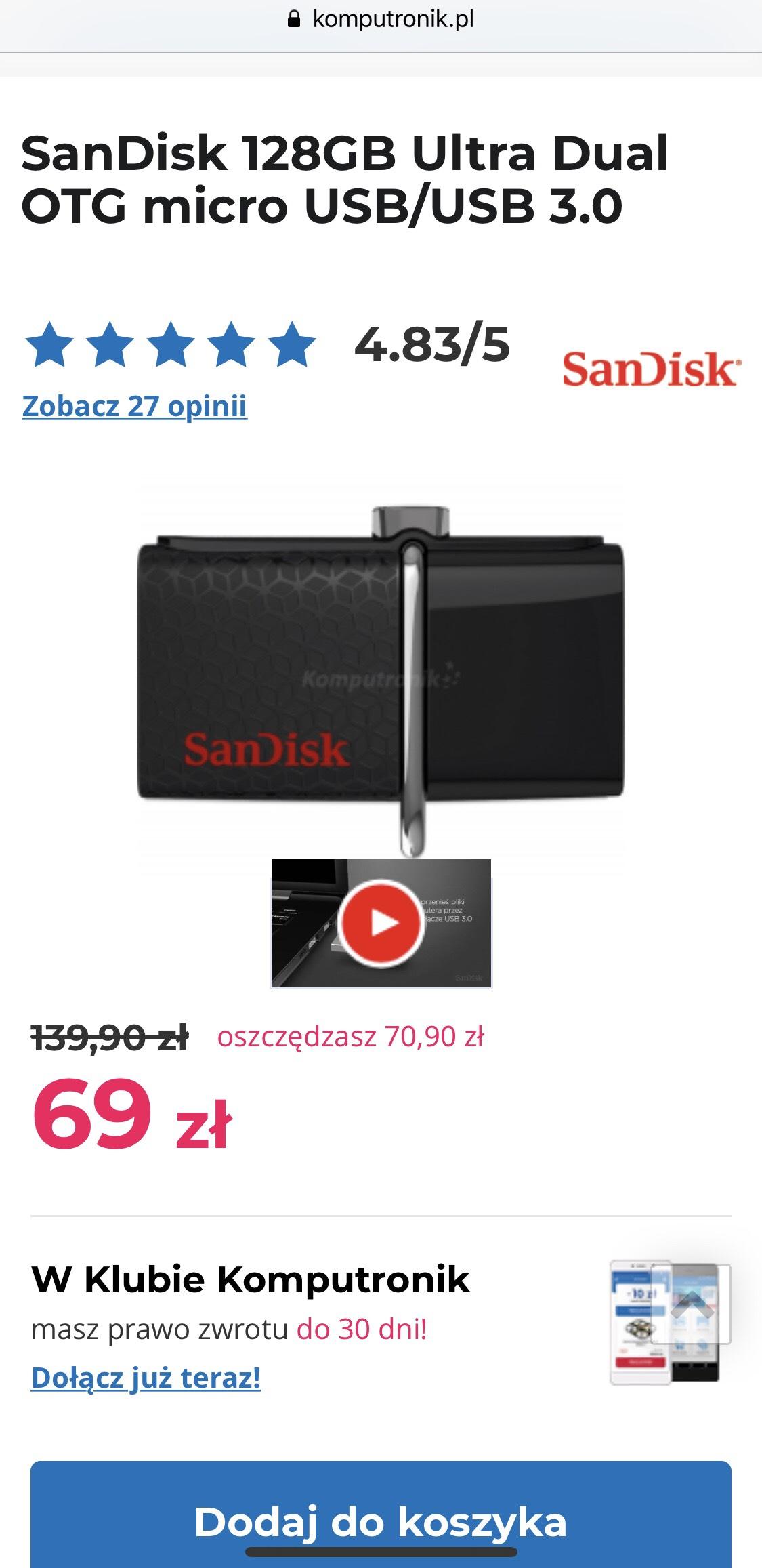 Pendrive SanDisk 128GB Ultra Dual OTG micro USB/USB 3.0