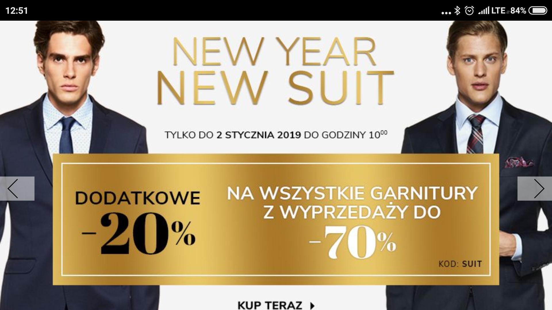 Vistula dodatkowe 20% na garnitury z wyprzedaży