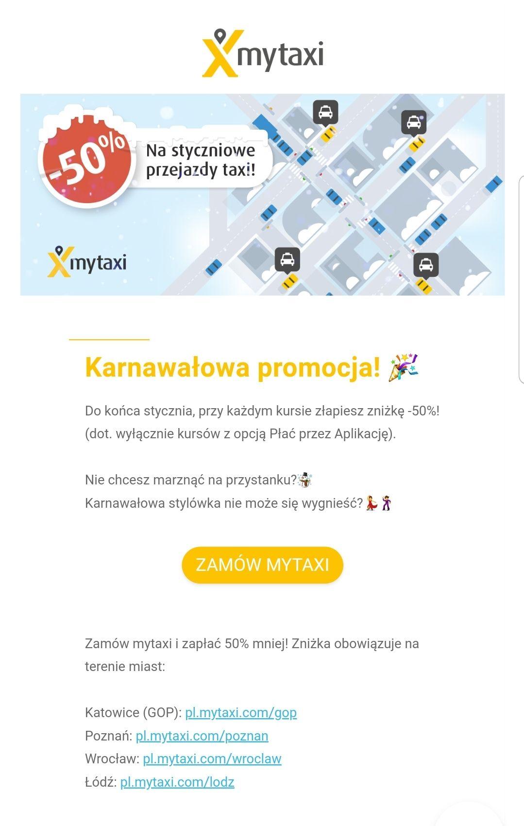 -50% na przejazdy z mytaxi Poznań Katowice Wrocław Łódź