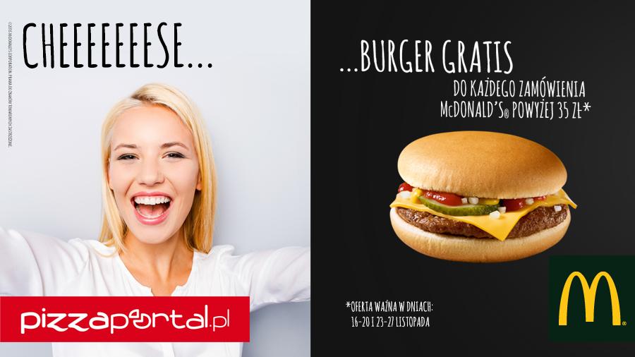Darmowy cheesburger do zamówienia za min. 35zł (Warszawa) @ Pizza Portal