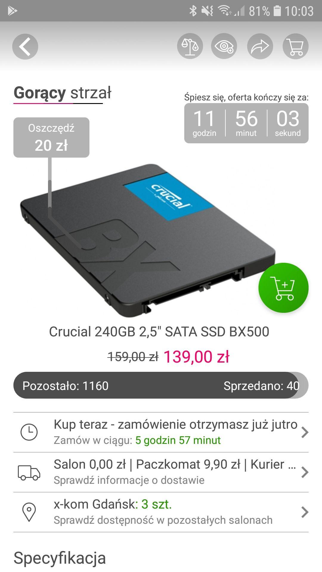 """Crucial 240GB 2,5"""" SATA SSD BX500 @xkom"""