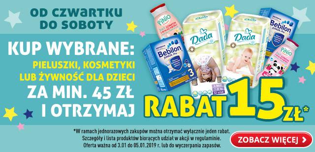 Kup produkty dla dzieci za 45zł i otrzymaj 15zł rabatu # Biedronka m.in. Mleko Bebilon, Pieluchy Pampers itd