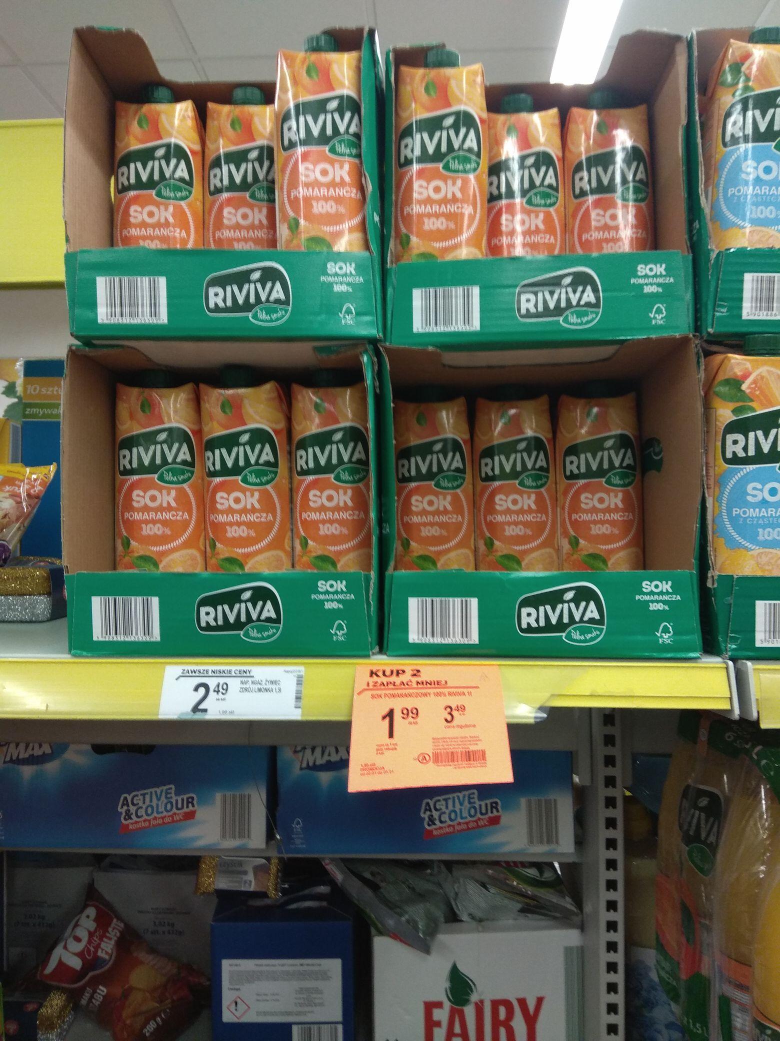 Sok pomarańczowy 100% 1litr Riviva - Biedronka