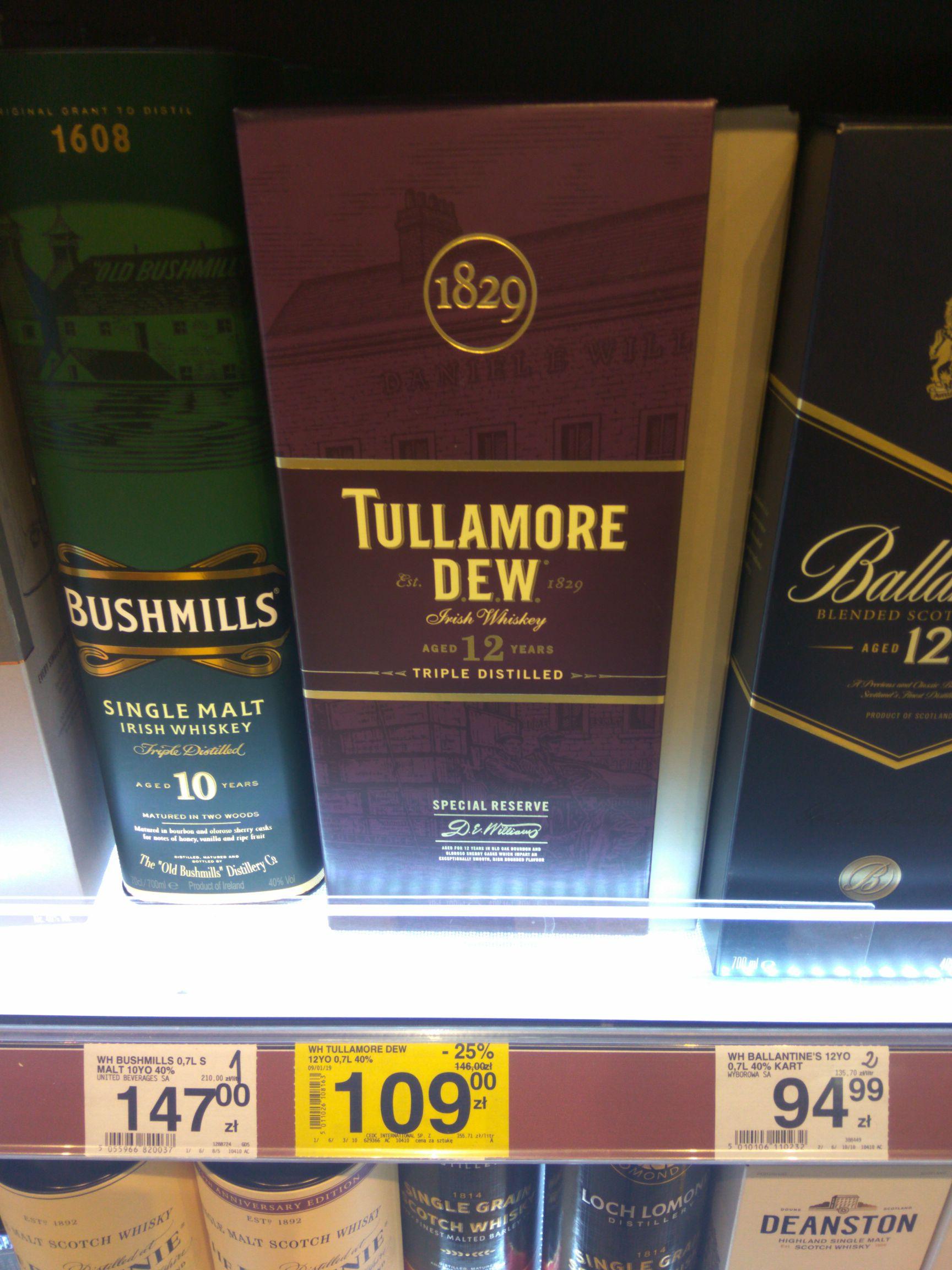 [Carrefour] Whiskey/Whisky: Tullamore Dew 12 - 109 zł, Balvenie 12 - 169 zł