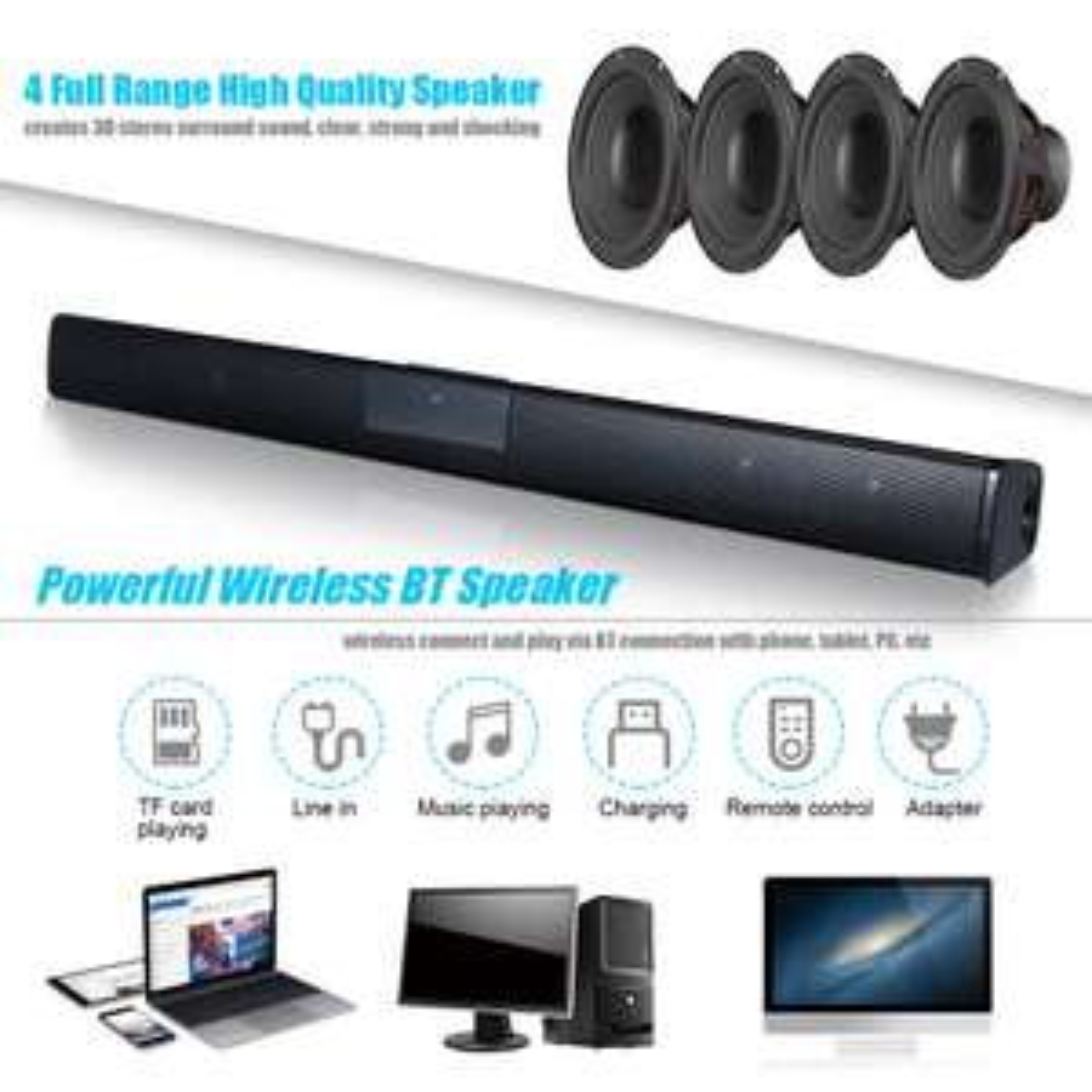 Wireless BT4.0 Soundbar Speaker TV Home Theater 3D Bass Line Remote Control M8K6