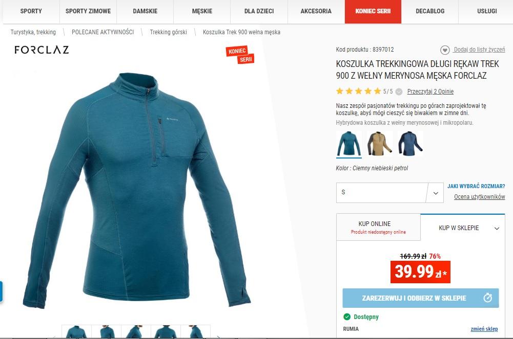 Koszulka trekingowa długi rękaw TREK 900 z Merino, Decathlon roz. S (inne w opisie)