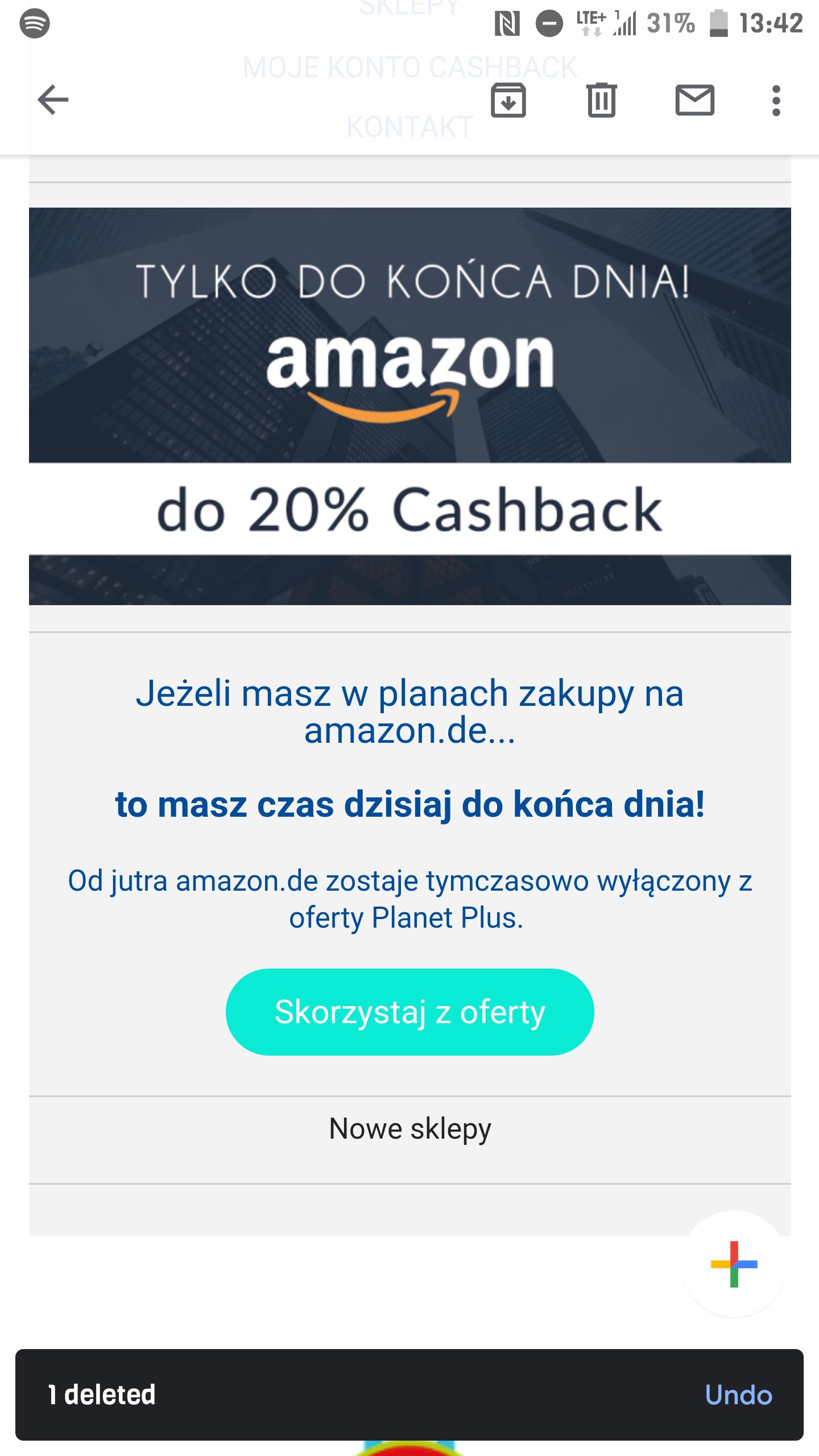 20 % cashback planet plus w Amazon.de od 7 stycznia